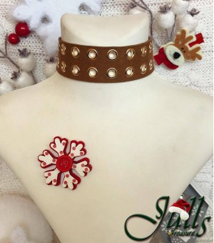 Brown Eyelet Choker