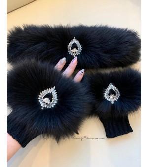 Комплект ръкавици и лента за коса от естествен косъм в черно