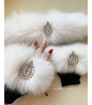 Комплект къси ръкавици и лента за коса в бяло