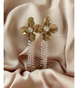 Обици с перли и цветя 2
