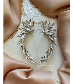 Кристални обици по цялата дължина на ушите Silver Long Wings
