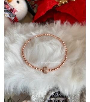 Коледна гривна от полускъпоценни камъни CZ rose gold