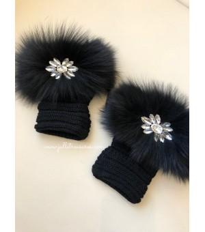 Плетени ръкавици с естествен косъм в черно