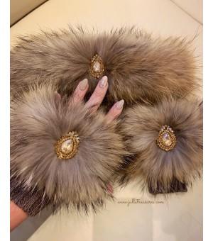 Комплект къси ръкавици и лента за коса от естествен косъм в бежово