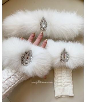 Комплект дълги ръкавици и лента за коса от естествен косъм в бяло
