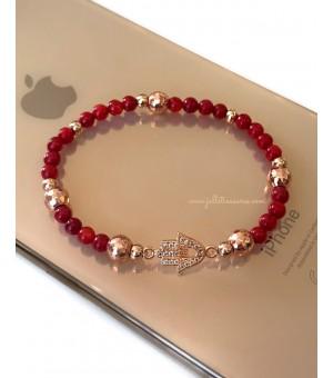 Гривна - амулет от полускъпоценни камъни Red Hamsa