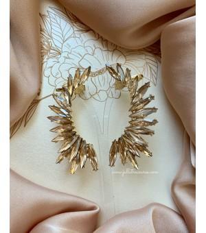 Кристални обици по цялата дължина на ушите Wings Gold