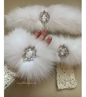 Комплект Ръкавици с камъни И Лента За Коса От Естествен Косъм В Бяло