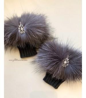 Плетени ръкавици с естествен косъм сребърна лисица