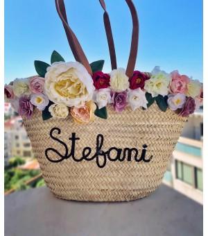 Плажна чанта с цветя и надпис по избор