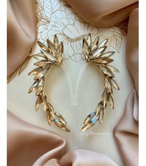 Кристални обици по цялата дължина на ушите Golden Long Wings