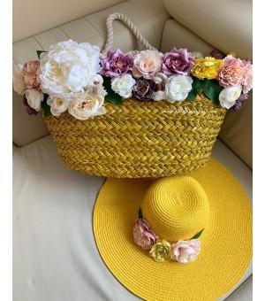 Комплект плажна чанта с цветя и шапка с надпис по избор