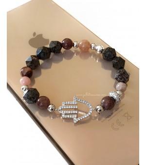 Гривна от полускъпоценни камъни Hamsa
