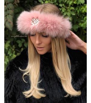 Лента за коса от естествена кожа в розово