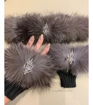Комплект къси ръкавици и лента за коса от естествен косъм сребърна лисица