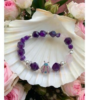 Гривна от полускъпоценни камъни Lilac