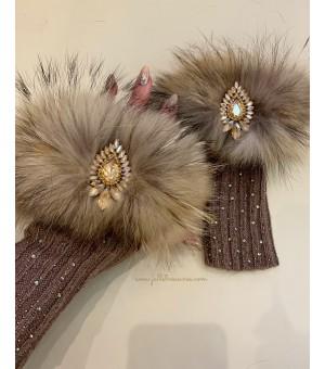 Плетени дълги ръкавици с естествен косъм в бежово
