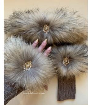 Комплект дълги ръкавици и лента за коса от естествен косъм в бежово