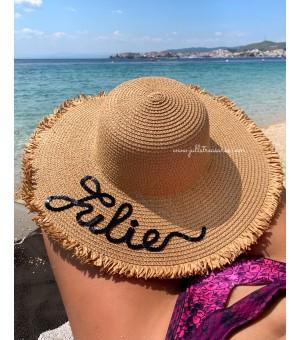 Луксозна тъмно бежова шапка с разплетени краища и надпис по ваше желание