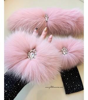 Комплект дълги ръкавици и лента за коса от естествен косъм в розово