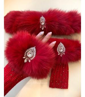 Комплект дълги ръкавици и лента за коса от естествен косъм в червено