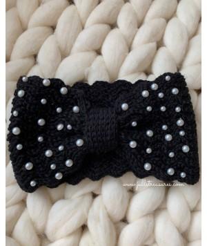 Плетена лента за коса в черно