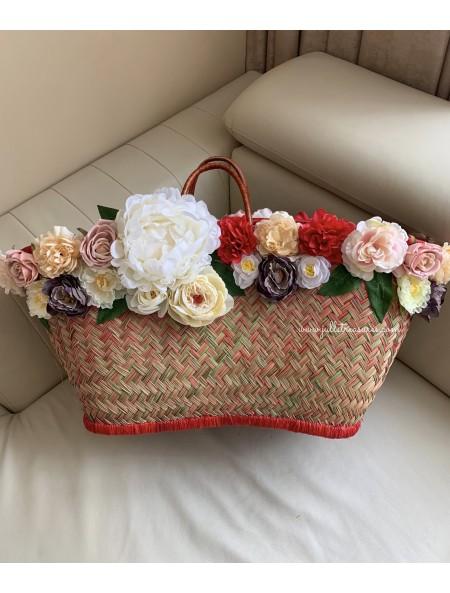 Плажна чанта с цветя и надпис по избор 3