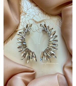 Кристални обици по цялата дължина на ушите Wings Silver