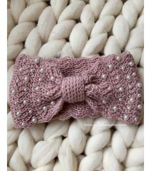 Плетена лента за коса в розово