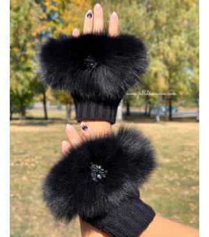 Плетени ръкавици с естествен косъм в черно 2