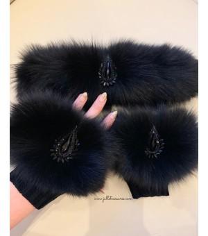 Комплект ръкавици и лента за коса от естествен косъм в черно 2