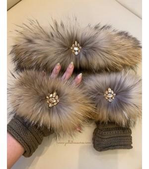 Комплект ръкавици и лента за коса от естествен косъм в бежово