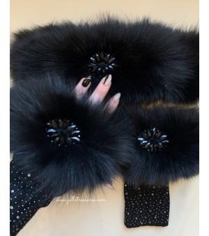 Комплект ръкавици с кристалчета и лента за коса от естествен косъм в черно