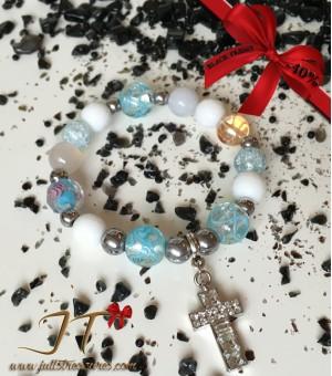 Гривна от полускъпоценни камъни Blue Shiny Cross